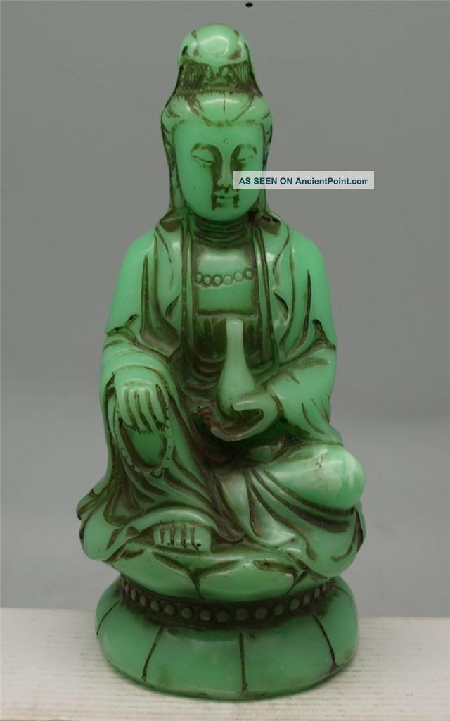 Oriental Chinese Seated Guanyin Buddha - Green Faux Jade Buddha photo