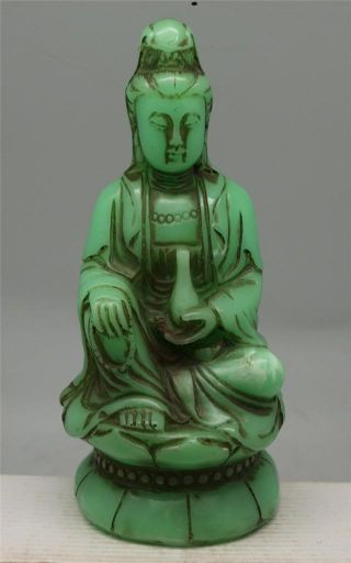 Oriental Chinese Seated Guanyin Buddha - Green Faux Jade photo