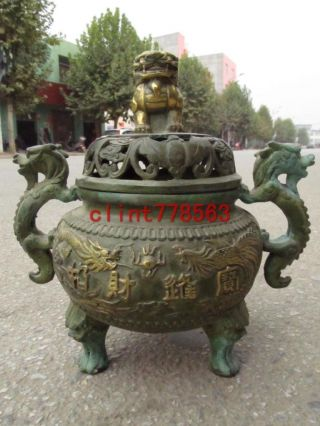 Buddhist Temple Bronze Gilt Long Phoenix Incense Burner photo