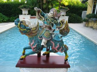 Finest Chinese Pottery Roof Tile Warrior Dragon Creature Signed photo