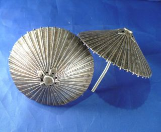 Sterling Silver 1950s Japanese Parasol Salt & Pepper Shakers.  925 Silver photo