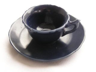 Small Imari Arita Cup & Saucer Dark Blue Glaze 1880 - 1900 Handpainted Nr 1507 photo
