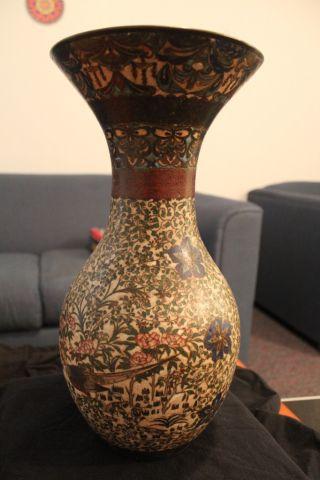 Meiji Cloissone Vase Rooster Detail photo
