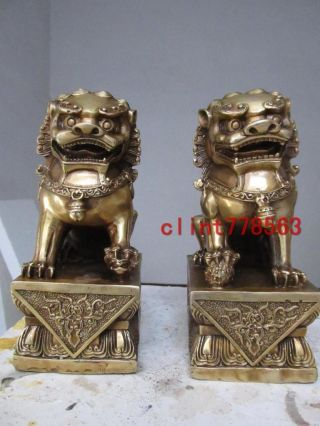 Chinese Palace Bronze Door Foo Dog Lion Pair18 photo
