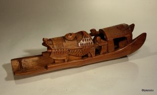 Chinese Carved Bamboo Wood Junk photo