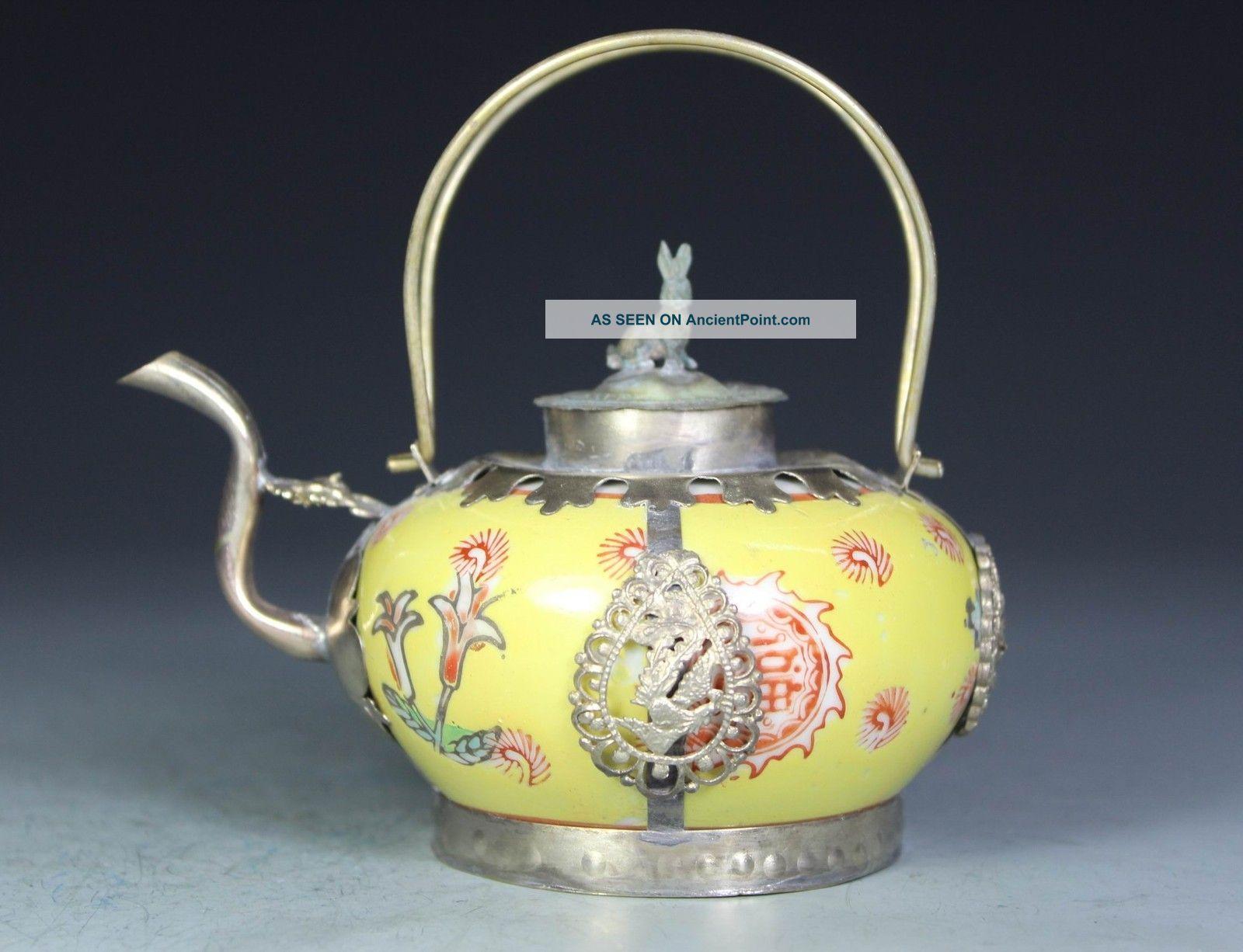 Chinese Handwork Painting Dragon Phoenix Old Porcelain Tea Pot Porcelain photo
