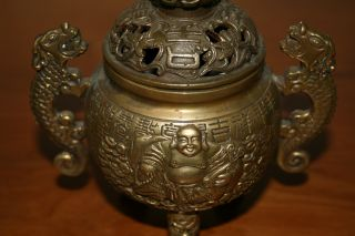 Highly Detailed 19thc Bronze Buddha Incense Burner Signed photo