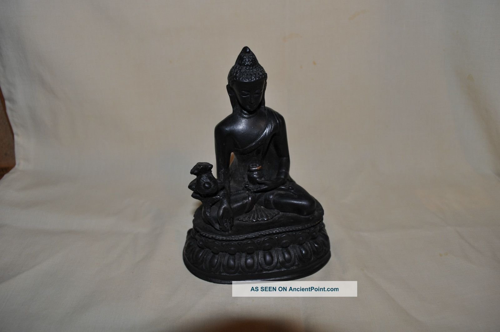 Antique Vintage Hand Carved Wooden Buddha Made In Nepal Buddha photo