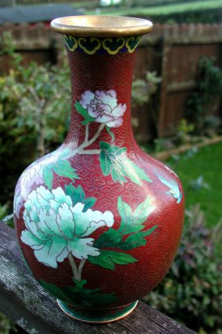 Gorgeous Large Red Cloisonne Chinese Vase Lovely Colours With Bird Design photo