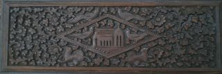 Antique Indian Carved Rosewood Panel Peacocks Gryphons Palace Intricate Plants photo