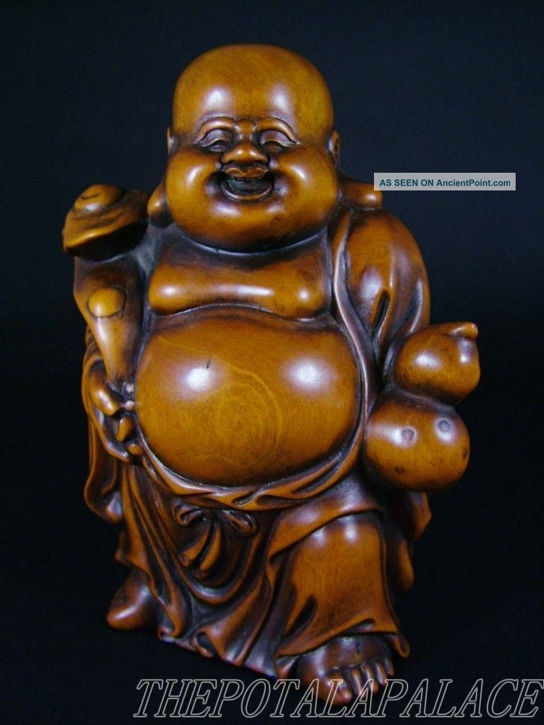 Fine Old Chinese 19thc.  Boxwood Carved Statue Laughing Buddha Holding Ruyi Buddha photo