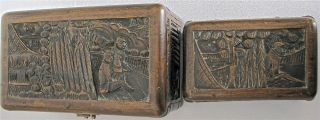 2 Antique Chinese Carved Wood Boxes Chests photo