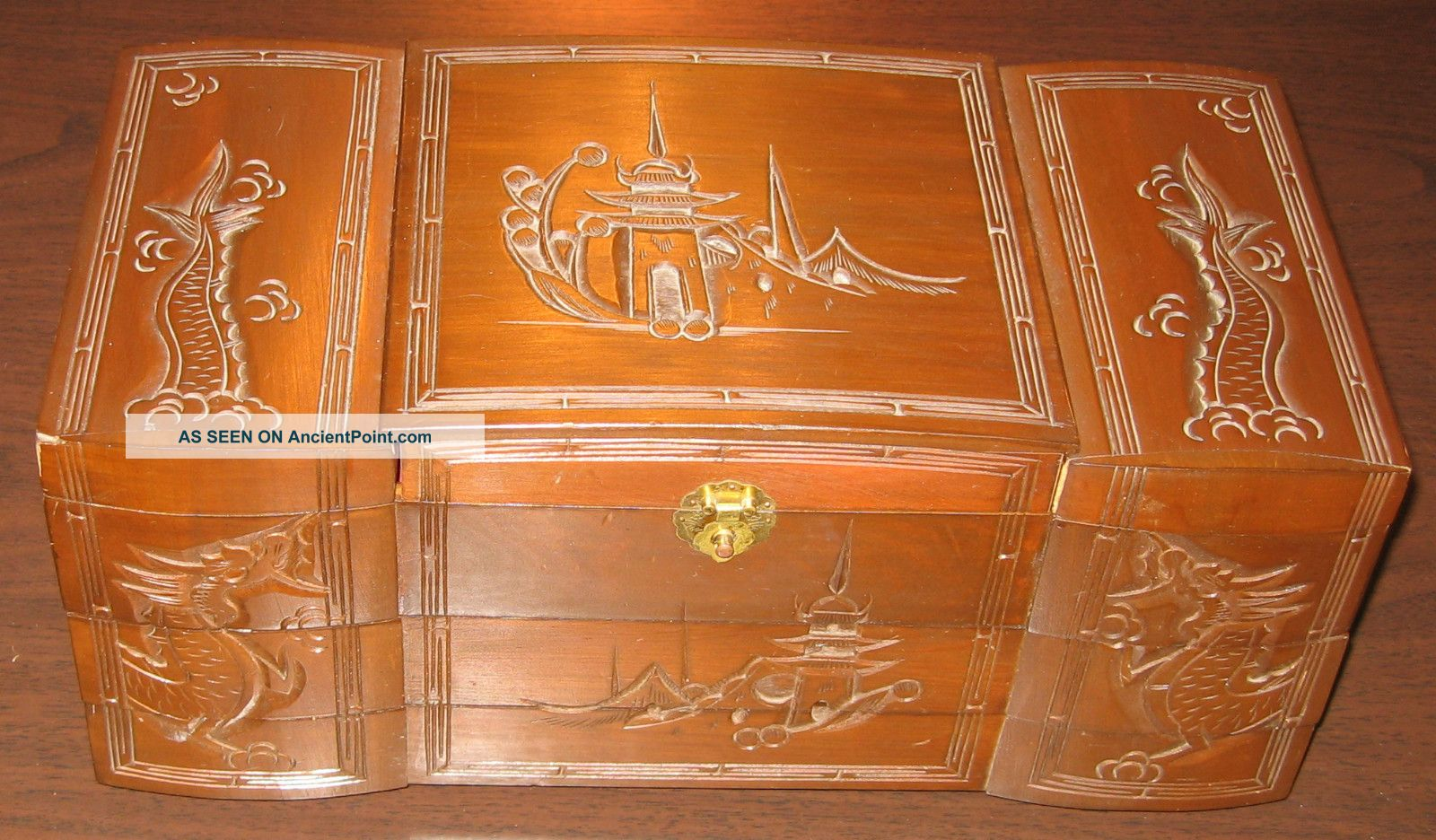 Vintage Chinese Wood Carved Jewelry Box Japanese Asian Chest Red