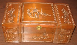 Vintage Chinese Wood Carved Jewelry Box - Japanese / Asian Chest Red Velvet Exc photo