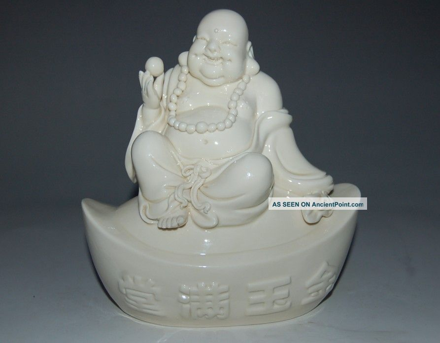Unusual Chinese Dehua White Porcelain Fortuna Seated Buddha&symbol Of Wealth Buddha photo