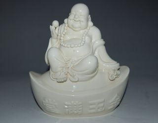 Unusual Chinese Dehua White Porcelain Fortuna Seated Buddha&symbol Of Wealth photo