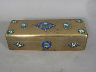 Antique Chinese Cloisonne Bronze Box Compartments Long Hinged Fine Quality photo