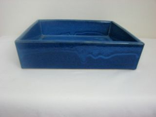 Japanese Ikebana Container,  Royal Blue Color,  Square Design,  Pottery photo