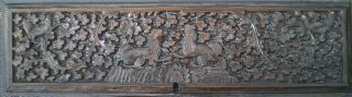 Antique Indian Carved Rosewood Panel Peacocks Gryphons Guarding Rare photo