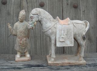 Chinese Ming Dynasty Pottery Horse And Groom photo