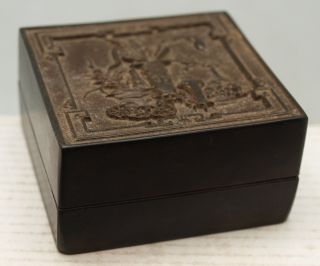 Chinese Oriental Black Square Box Containing Red Carved Seal / Chop / Stamp photo