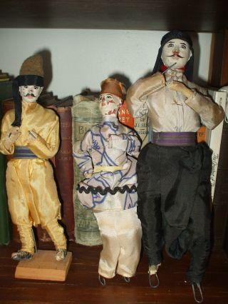 (3) Burma / Myanmar 1900 ' S Marionette Burmese Puppet Dolls - Set - Israel ? photo