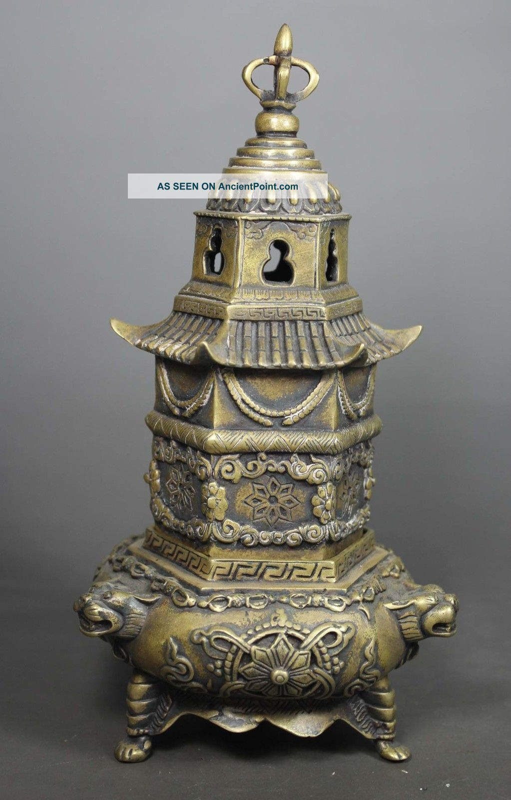 Chinese Old Very Rare Copper Handwork Hammer Pagoda Incense Burner ☆☆☆☆☆ Buddha photo
