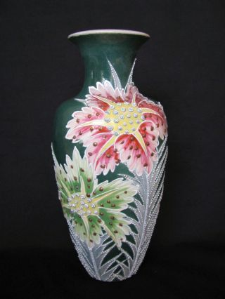 Stunning Antique Japanese Satsuma Moriage Signed Floral Vase W/ Holiday Colors photo
