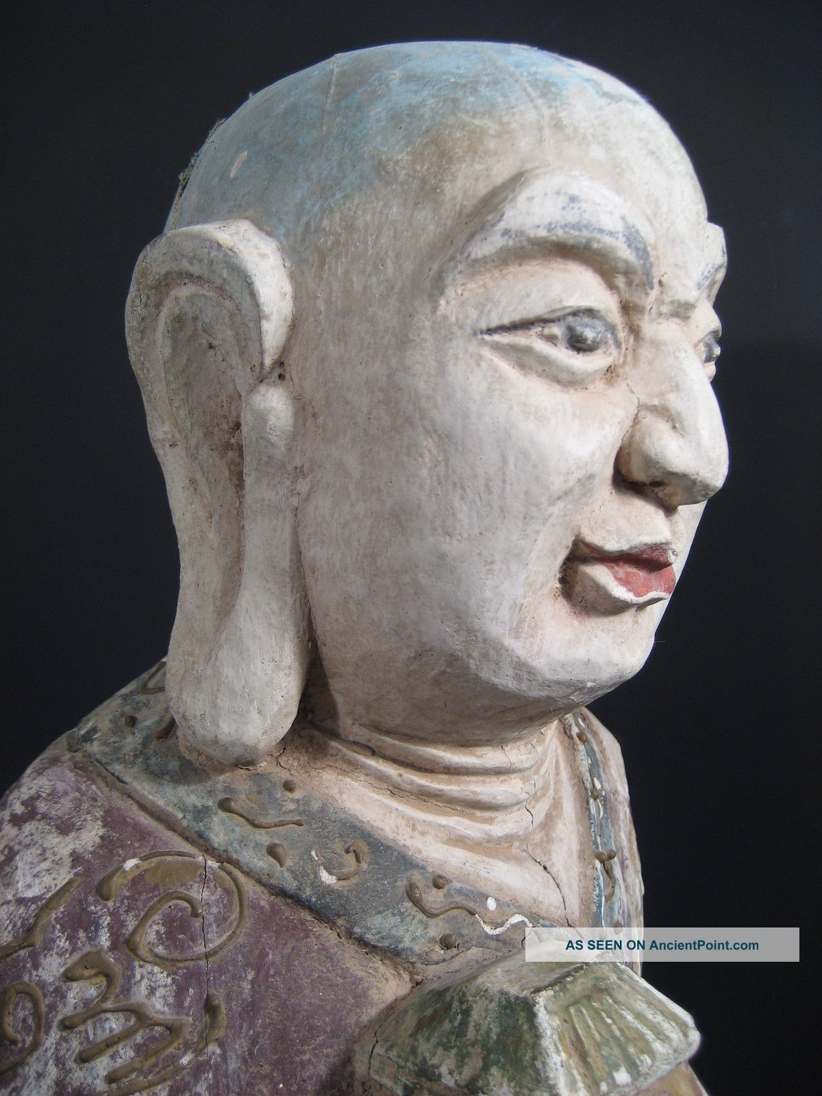 China Chinese Carved Wood Polychrome Standing Immortal? Buddha Ca.  20th Century Buddha photo