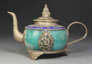Chinese Old Jade Handwork Dragon Cloisonne Tea Pot Kwan - Yin Lid photo