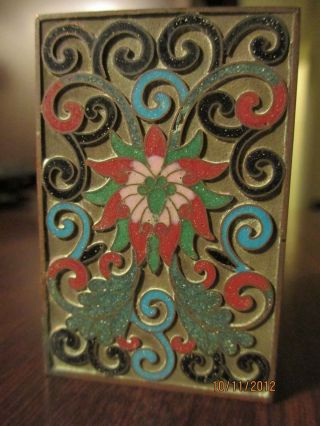 Old Chinese Enamel Copper Champleve Cloisonne Matchsafe Box Asian Scholar Estate photo