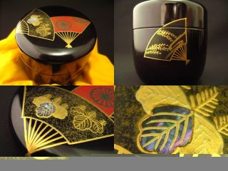 Japanese Antique Lacquer Wooden Tea Caddy Folding Fan Makie Natsume photo