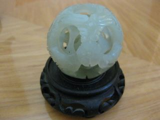 Antique Very Unique Rare Chinese Solid Jade Dragon Puzzle Ball photo