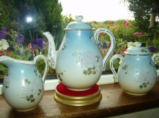Antique Three Piece Tea Set Chinese / Japanese Blue Blush Ivory Glaze photo