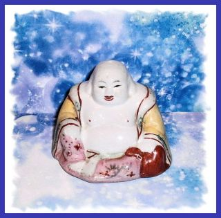 Vintage Porcelain Painted Buddha Figure - photo