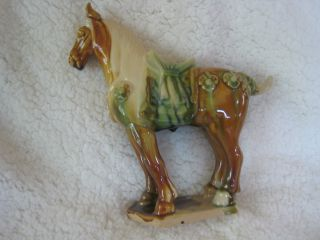 Tang Dynasty Sancai Tri - Colored Glaze Vintage China War Horse Figurine photo