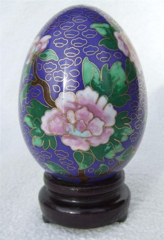 Vintage C1960 - 70 ' S Chinese Cloisonne Enamel Egg Ornament On Stand With Box photo