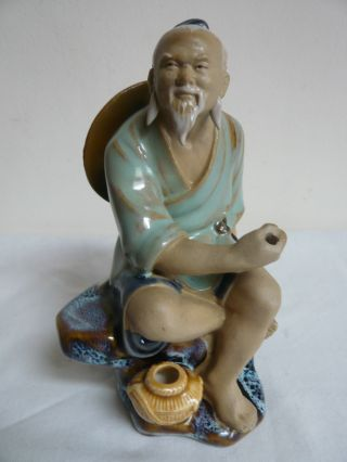 Vintage Chinese Mudman Figurine.  Man With Hat.  Made In China Mark.  Glazed photo