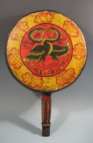 Nepal Nepalese Leather Polychrome Drum W/ Avian Decoration & Calligraphy 20th C. photo