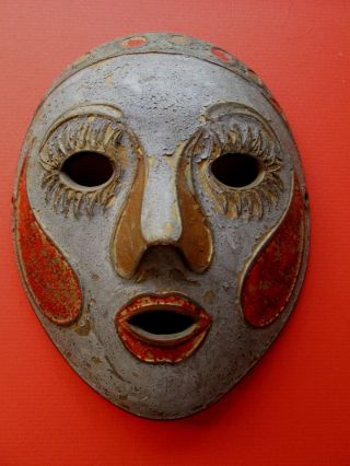 Vintage Bronze Painted Brass Asian Mask photo