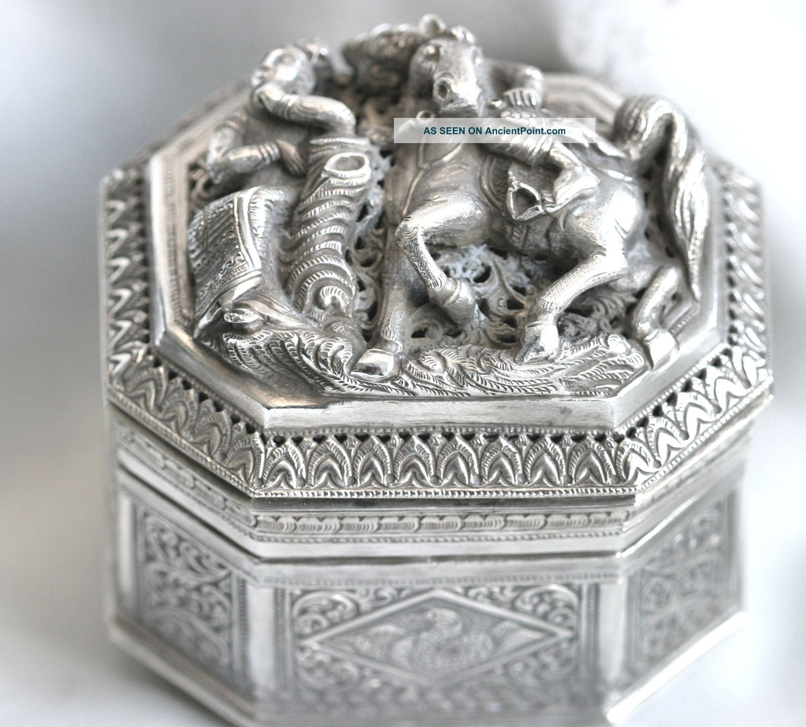 Antique Solid Silver Box From Southeast Asia Heavily Embossed Circa 1800s Boxes photo