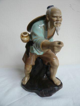 Vintage Chinese Mudman Figurine.  Man With Hat.  ' China 800 ' Mark.  Glazed photo