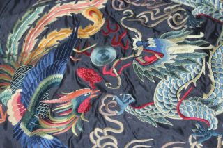 Chinese Old Silk Collectibles 100% Handwork Embroidery Dragon Phoenix Decoration photo
