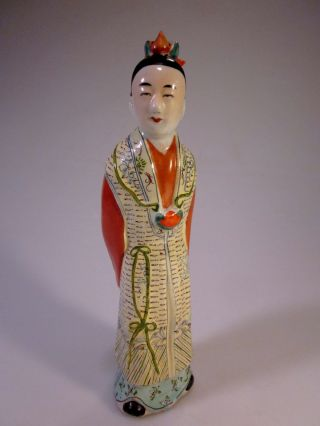 Antique Chinese Porcelain Famille Verte Fisherman Wife - Geisha - Signed - China photo