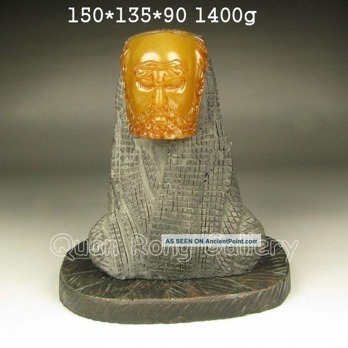Chinese Shoushan Stone Statue - Buddhism Luohan Nr Buddha photo