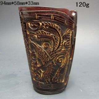 Old Antique 18 - 19th Chinese Ox Horn Hand - Carved Jiao Cup Nr/xb2408 photo