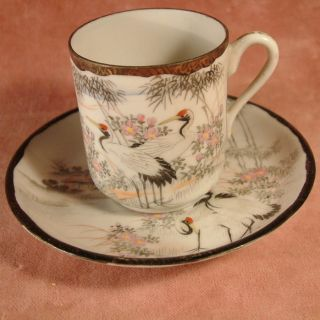 Japanese Vintage Hand Painted Porcelain Cup And Saucer photo