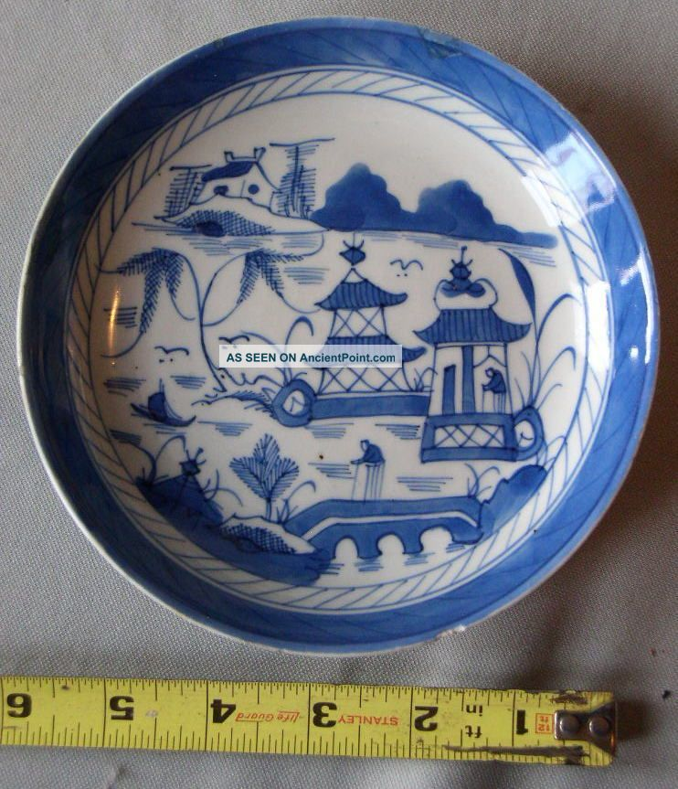 Antique Chinese Canton Export Porcelain Early 19th Century Shallow Soup Bowl Nr Bowls photo