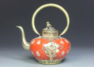 Chinese Old Porcelain Collectibles Decorated Handwork Armored Dragon Tea Pot photo