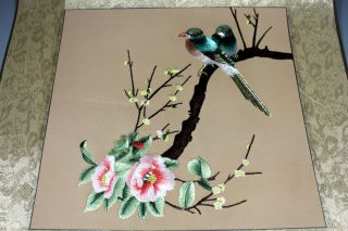 Chinese Old Canvas Handwork Embroidery Flower Bird Decoration Wall Hangings photo